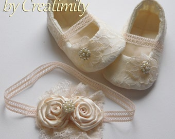Champagne Flower Girl Shoes Christening Shoes Baptism Shoes Soft Sole Shoes Crib Shoes Toddler Shoes Flower Girl Flat Wedding Shoes