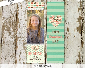 Valentine Bookmark valentine's day handout photo card digital printable lace hearts be mine coral mint brown polka dots, (1005) ANY WORDING,