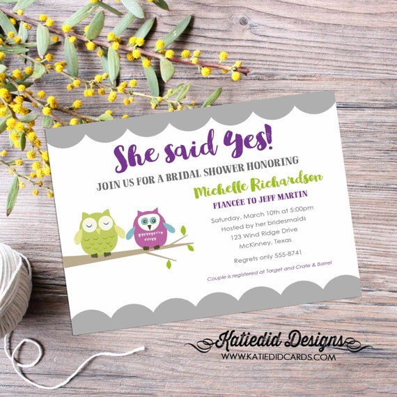 Couples Bridal Invitation owl bridal shower engagement party bachelorette hen gay shower rehearsal dinner stock the bar 315 katiedid designs