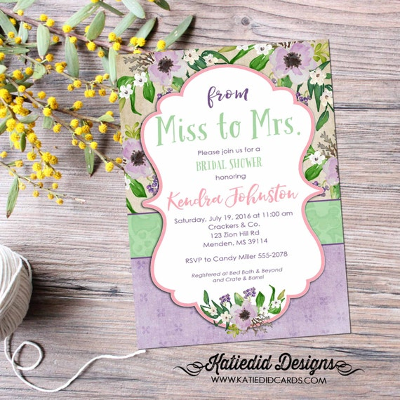Traveling from Miss to Mrs Couples Bridal Invitation floral chic invite co-ed party invite boho baby shower tribal mint 368 Katiedid designs