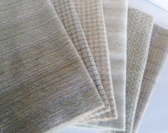 Natural Tans and Creams - Fat Quarters - Felted Wool fabric bundle for Wool Applique, Rug Hooking, Penny Rugs, Quilting, Sewing  #609
