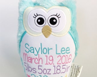 Stuffed Owl - Plush Owl - Birth Announcement Owl - Owl Birth Announcement - Owl Pillow - Custom Baby Gift - New Baby Gift - Personalized Owl