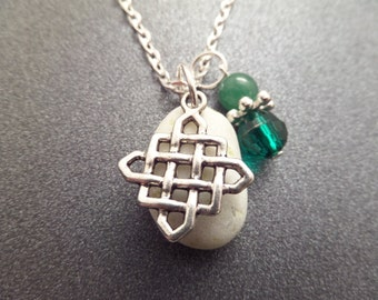 Celtic Knot Necklace with Scottish Iona Marble, Sea Pebble Healing Stone from Scotland, White and Green