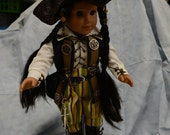 Doll clothes pirate outfit pants boots shirt hat belt vest hair decor dagger green stripe mini ship  RESERVED FOR EMOONEY4