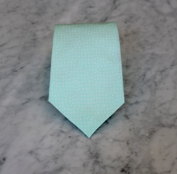 Men's Necktie in Mint Pin Dots