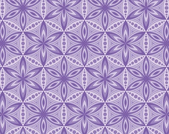 Benartex, Contemporary Prints, Transformations, Flower of Life, Purple Grape