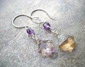 "Faceted ametrine dangle earrings: ""Third Eye"" - amethyst earrings, ametrine earrings, purple earrings, sterling silver earrings, florence"