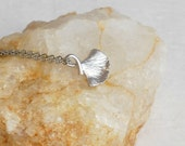 Silver Ginkgo Leaf Charm necklace, tiny leaves tree nature Asian ginko simple pendant birthday gift gifts for girlfriend wife her
