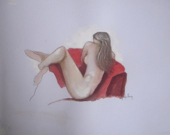 Relax on the Red Chair - nude painting - figure painting - female - figurative watercolor painting