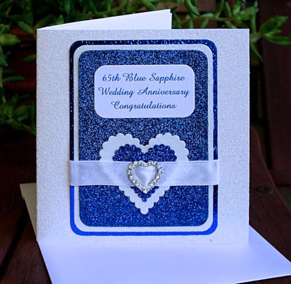 65 Wedding Anniversary Gift: 65th Blue Sapphire Wedding Anniversary Card-Czech By