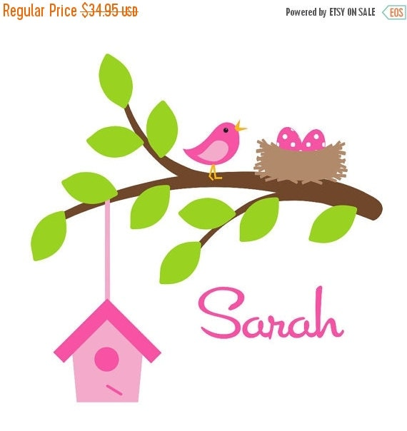 SALE Children Wall Decal Kid Wall Decal  Bird Branch Decal with Bird Houses Nest EggsOHSC