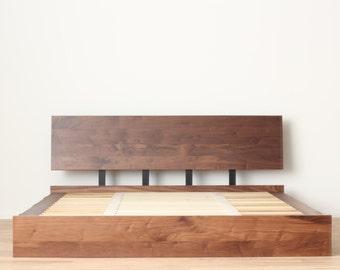 Solid Walnut Storage Bed