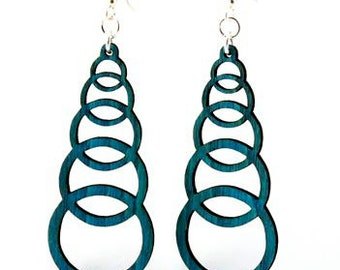 Ascending Circles - Laser Cut Wood Earrings from Sustainable Resources