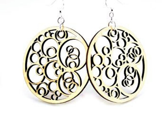 Circle Geometric Circles- Wood Earrings