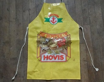 Vintage English Cotton Coated PVC Anchor Butter Hovis Bread Apron Cooking Kitchen Collectable circa 1970-80's / English Shop