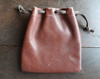 Vintage English Leather Pouch Money Coin Case Carry Holdall Carrier Case circa 1950-60's / English Shop