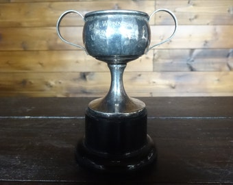 Vintage English worn silver plated EPNS engraved R.M. Winners metal trophy cup with base award circa 1934 / English Shop