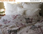 on sale The Oldest World map print duvet cover Twin XL-Full-Double-QUEEN-Super King size nautical bedding- Grey red beige cream Book bedding