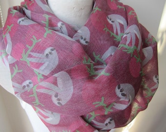 Animal scarves-Sloth scarf, sloth print fabric scarf-2015 trends accessory gifts-man fashion-mad-women's scarves-men's scarves-gift for her