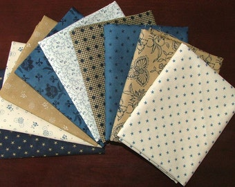 Lexington Fat Quarter Bundle of 9 in Blues Tans and Creams by Minick & Simpson for Moda