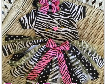 Zebra Wild One Tutu Set