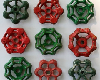 9 Red and Green Faucet Handles -Shipping Special-Steampunk ,  Artsy Handles, SteamPunk Holiday, -Industrial  Christmas Crafts,Potting Bench