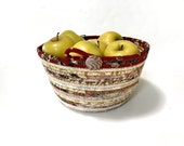 Clothesline Basket - Neutrals and Cranberry -  Handmade Coiled Rope Organizer - OOAK Fruit Bowl - Fiber Art by Sally Manke