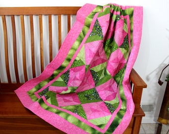 Lap Quilt - Modern Pink and Green - Wall Hanging - Blanket Throw - Dorm Quilt - Quilts for Sale - Quilted Fiber Art by Sally Manke Patchwork