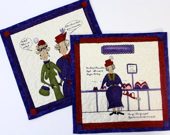 Quilted Mug Rug  Red Hatters  Quilters Gift Set of 2  Women With Attitude BFF Gift Purple and Red, Candle Mats, Placemats, Fiber Art