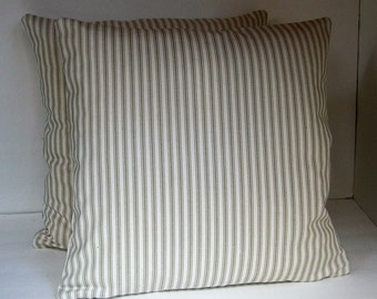 "Two (2) Decorative Beige and Cream Ticking Pillow Covers Made to Fit 18"" x 18"" Pillows"