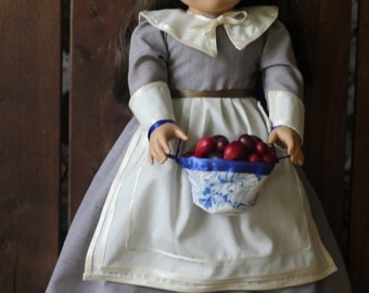 Pilgrim Collection 2016, Lavender dress with apron, cuffs, collar, cap, and bowl of faux cranberries for 18in American girl dolls