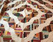 92 x 92 log cabin variation handmade quilt