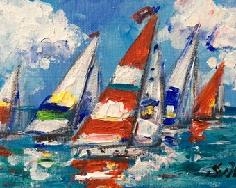 "Sailboats Painting Sailing Painting seascape  original painting 5 x 7"""