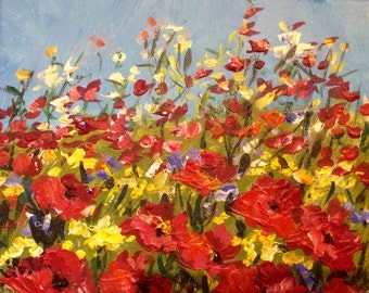 "Poppies  wild flower field original floral textured painting 8 x 10"""