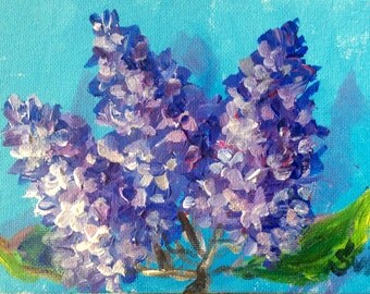 Lilacs Painting lilacs flowers original floral painting on canvas panel 5 x 7