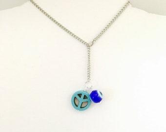 Peace sign Pendant & Necklace, turquoise, Silver Tone, evil eye, handmade jewelry sale Item No. De213