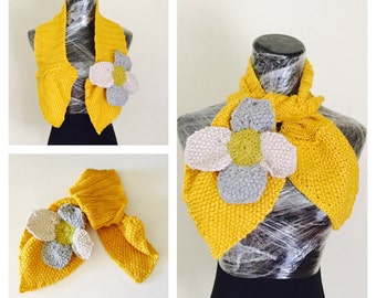 Big Crochet Flower Scarf, Mustard & Multi Color, Woman Fashion, Hand Made in the U S A, Item No. BDE005