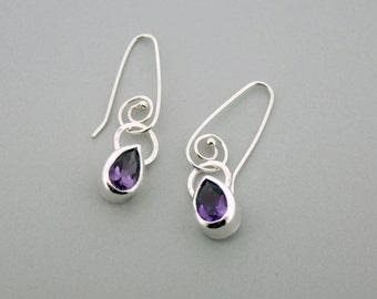 What to Get my Girlfriend for Christmas - Handmade Teardrop Earrings - Silver Birthstone Earrings - Birthstone Drops