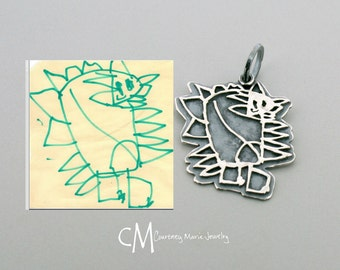 Kid Drawing Pendant - Sterling Silver Child Artwork Drawing Pendant - Child drawing - Custom Art Charm - Silver Child Drawing Pendant