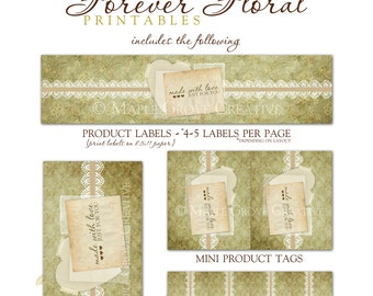 Forever Floral Tags for Crochet, Knit, Handmade Items