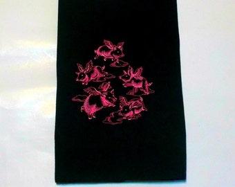 Flying pigs tea towel