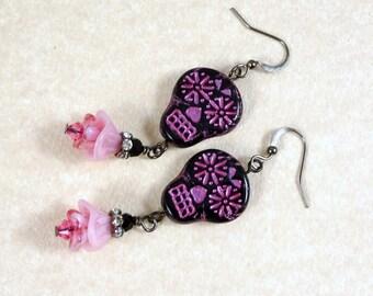 Sugar Skull Earrings - Black and Pink Sugar Skulls - Day of the Dead Earrings, Dia de los Muertos - Pink and Black Earrings