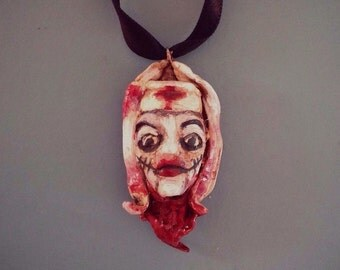 Evil Nurse Pendant Necklace Horror Creepy Hand Painted Doll Goth Gift Unique Wearable Art OOAK Hand Sculpted