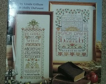 Cross Stitch Book, Words to Live By, 10 Inspirational Samplers, American School of Needlework, 17 page book, Gillum DeFount, , Vintage 1996