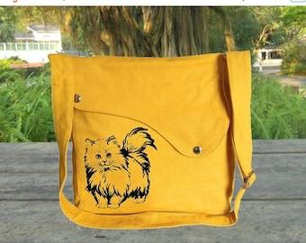 Summer Sale 10% off Golden cotton canvas messenger bag, shoulder bag, screenprinted shoulder bag, travel bag