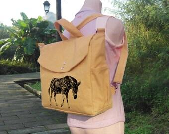 Yellow cotton canvas backpack, handbag, messenger bag travel bag, shoulder bag, rucksack