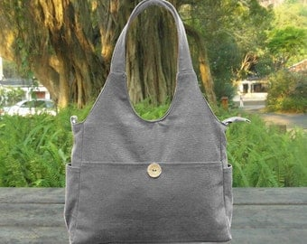 gray cotton canvas messenger bag, fabric tote bag for women, canvas shoulder bag, school bag, travel bag