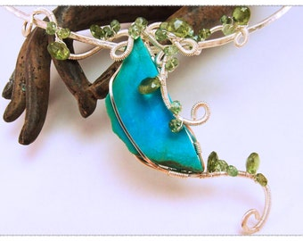 VINES  Choker Necklace Turquoise Green Apatite