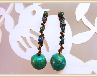 CHRYSOCOLLA  Hook Earrings