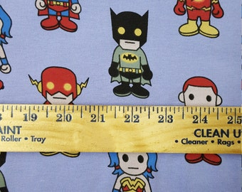 Asian Super Heroes on Lavender Cotton Lycra Knit FAbric
